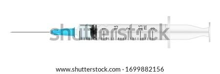 jeringa · aislado · blanco · mano · ciencia · enfermera - foto stock © fuzzbones0