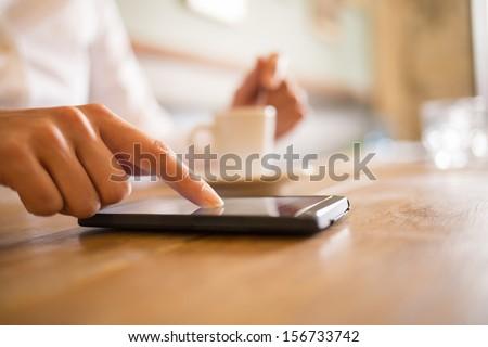 beautiful woman using mobile phone at bar restaurant stock photo © wavebreak_media