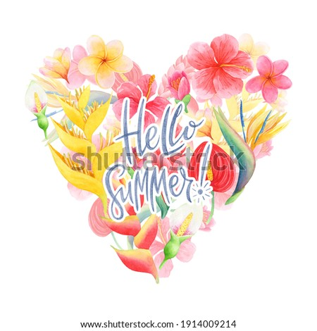 Stock photo: Hello Summer Illustration with Typography Letter and Tropical Plants on Yellow Background. Vector Ho