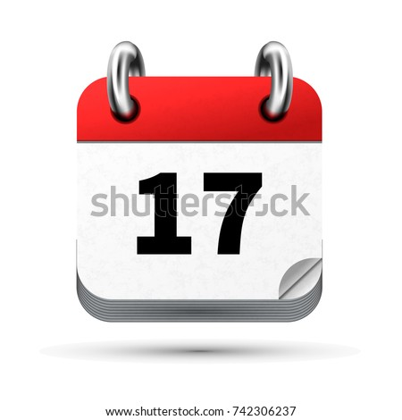 Bright realistic icon of calendar with 17 february date isolated on white Stock photo © evgeny89