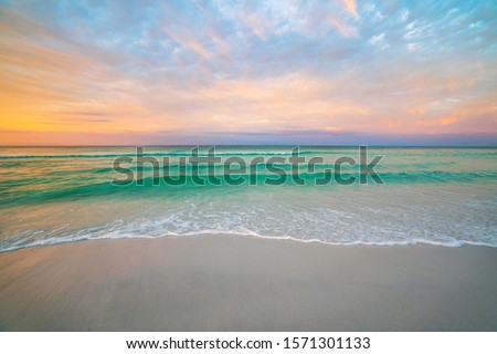 tropicales · océan · surf · coucher · du · soleil · temps · plage - photo stock © homydesign