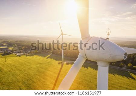 groene · energie · windmolen · ecologie · platteland · blauwe · hemel · business - stockfoto © pedrosala