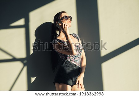Sexy Girl with cell phone Stock photo © dash