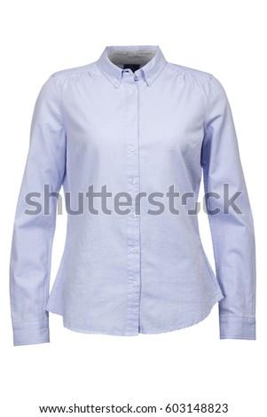 Kadın mavi bluz yalıtılmış beyaz arka plan Stok fotoğraf © Elnur