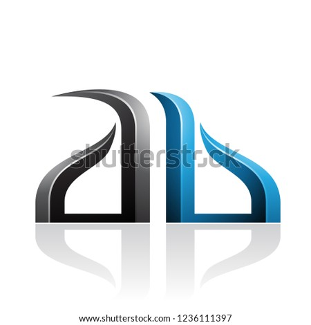 Blue and Black Bow-like Embossed Letter A Vector Illustration Stock photo © cidepix