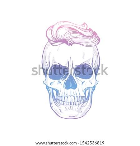 怒っ 頭蓋骨 ヘアスタイル 口ひげ 行 芸術 ストックフォト © netkov1
