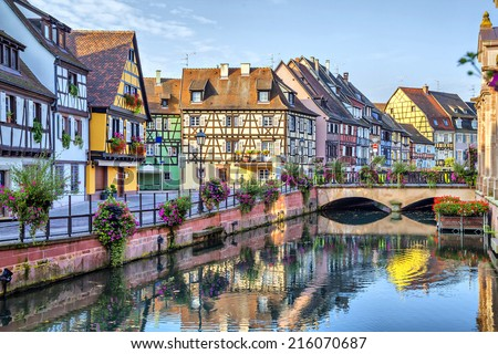 embankment of lauch river colmar france stock photo © borisb17