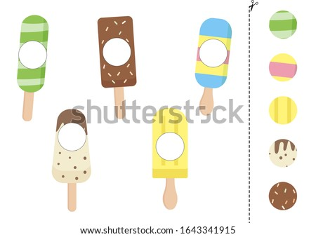 Ice cream - coloring page. Worksheet. Game for kids - coloring book. Vector Stock photo © natali_brill