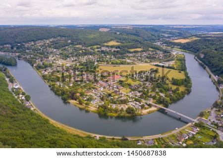Aerial view of Dinant town, Belgium Stock photo © dmitry_rukhlenko