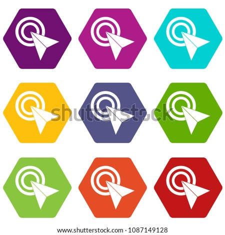 directional arrows set in many colors and shapes Stock photo © SArts