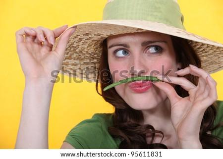 Vrouw groene bonen snor meisje mode ogen Stockfoto © photography33