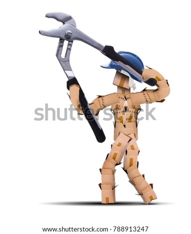 Tradesman holding a pair of large pliers Stock photo © photography33