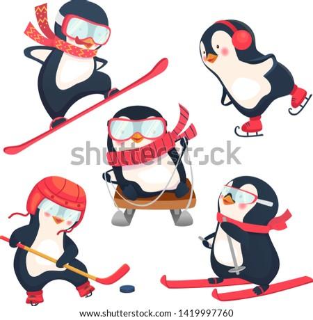 penguin skating on ice Stock photo © adrenalina