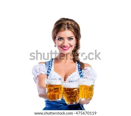 Mujer oktoberfest blanco fiesta vidrio belleza Foto stock © Elnur