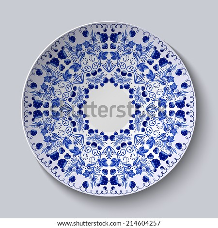 blue ceramic plate with strawberry design Stock photo © Digifoodstock