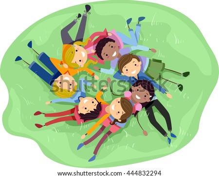 Nastolatków znajomych różnorodny ilustracja grupy trawy Zdjęcia stock © lenm