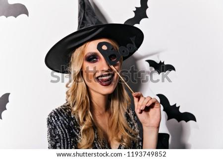 Portré nő ijesztő smink halloween monokróm Stock fotó © acidgrey