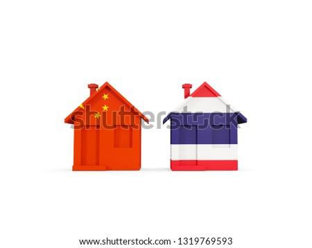 Twee huizen vlaggen China Thailand geïsoleerd Stockfoto © MikhailMishchenko