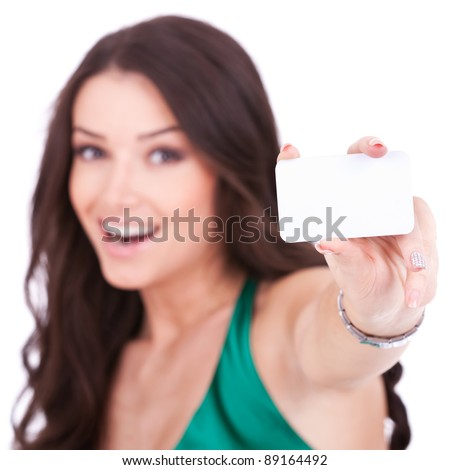 girl with a white card over white background Stock photo © vladacanon