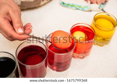 Process of painting Easter eggs in blue Stock photo © furmanphoto