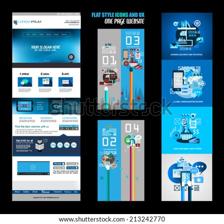 one page website flat ui design template it include a lot of flat stlyle icons forms header foot stock photo © davidarts