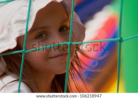 beautiful young girl posing on the playground Stock photo © tekso