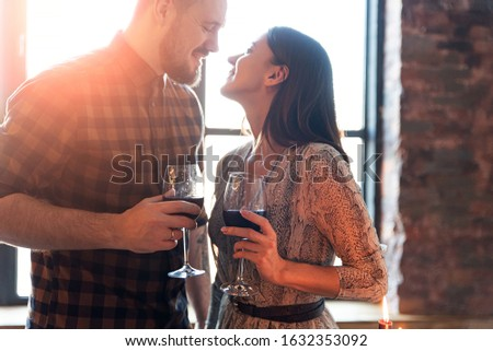 young romantic couple with wine stock photo © is2