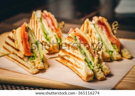 taze · kulüp · sandviç · jambon · peynir · yumurta - stok fotoğraf © Melnyk
