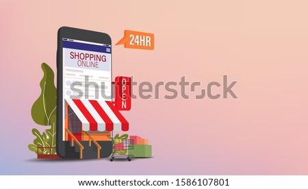 Online shopping concept, vector illustration. stock photo © kup1984