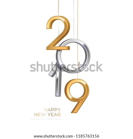 3D Gold Metal 2019 on White Background Stock photo © manaemedia