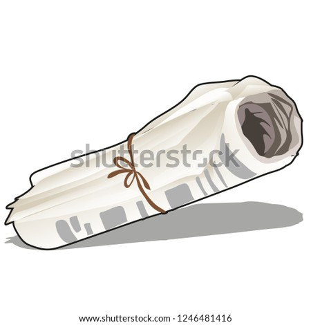 Rolled a recent newspaper with the latest news isolated on a white background. Vector cartoon close- Stock photo © Lady-Luck