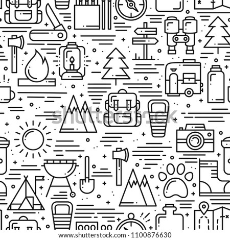 Camping Pattern Design - Outdoors Adventure seamless background with camp symbols and wanderlust ele Stock photo © JeksonGraphics