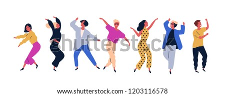 Happy young man and woman dancing  Stock photo © cienpies