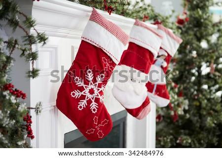 Christmas pończocha Święty mikołaj odizolowany biały zabawy Zdjęcia stock © nomadsoul1