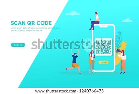 QR code concept landing page Stock photo © RAStudio