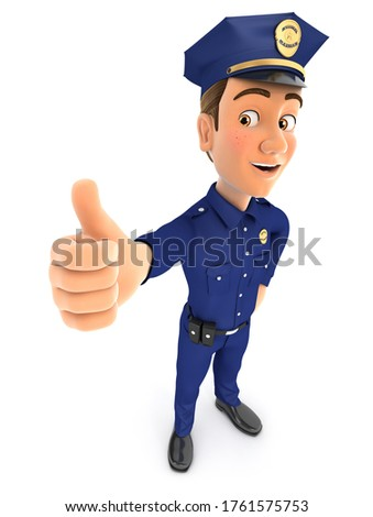 3d policeman standing with thumb up Stock photo © 3dmask