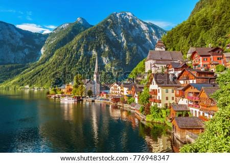 Ausztria kép híres alpesi falu drámai Stock fotó © rudi1976