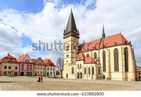 Bazilika Szlovákia gótikus épület északi égbolt Stock fotó © borisb17