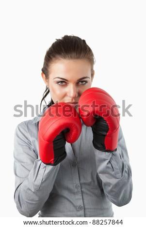 rękawice · bokserskie · business · woman · zły · działalności · agresywny - zdjęcia stock © nobilior