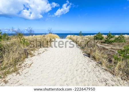 ストックフォト: 砂の · パス · ビーチ · バルト海 · 水 · 風景