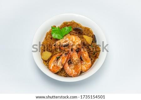 Mariscos camarón cocción blanco placa alimentos Foto stock © shutswis