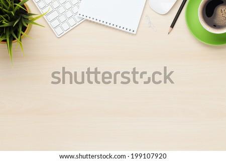 Pusty notatnika tabeli drewniany stół drewna pióro Zdjęcia stock © fuzzbones0