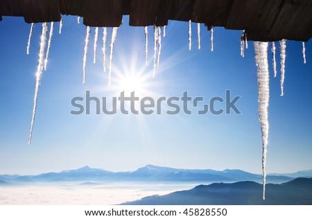 Ijskegel blauwe hemel zon groot winter koud Stockfoto © brianguest