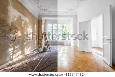 Ház rendbehoz jóképű férfi festmény férfi építkezés Stock fotó © Kurhan