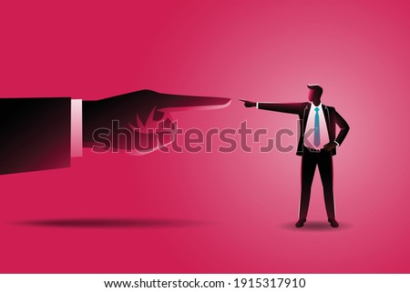 Klein zakenman wijzend reus shirt bang Stockfoto © ra2studio