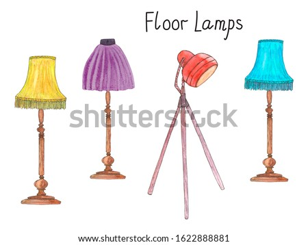 Lamp with  Red Shade Standing on Night Table Set Stock photo © robuart