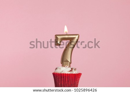 Festive cake with golden candles - Number 7 Stock photo © Zerbor
