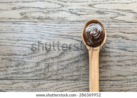 Spoon of chocolate paste with hazelnuts Stock photo © Alex9500