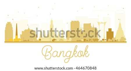 Bangkok City skyline golden silhouette. Stock photo © ShustrikS