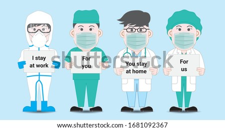 Poster with stay home concept, doctors in face medical masks saving lives of sick people of covid19 Stock photo © robuart